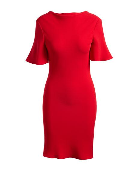 Short-Sleeve Open-Back Cocktail Dress