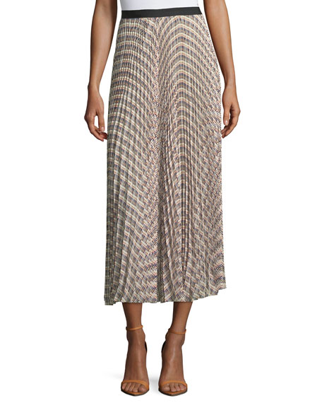 Basketweave-Print Pleated Midi Skirt