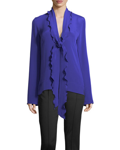 Ruffled Scarf-Neck Silk Blouse