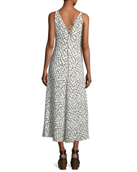Net-Print Silk Georgette Slip Dress with Lacing Detail