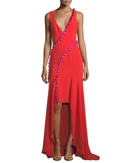 Cuzco Tassel-Trim Crepe Gown