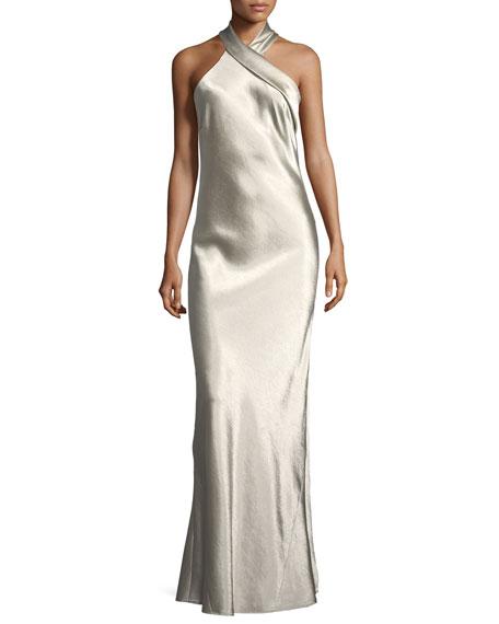 Metallic Crepe Halter Gown