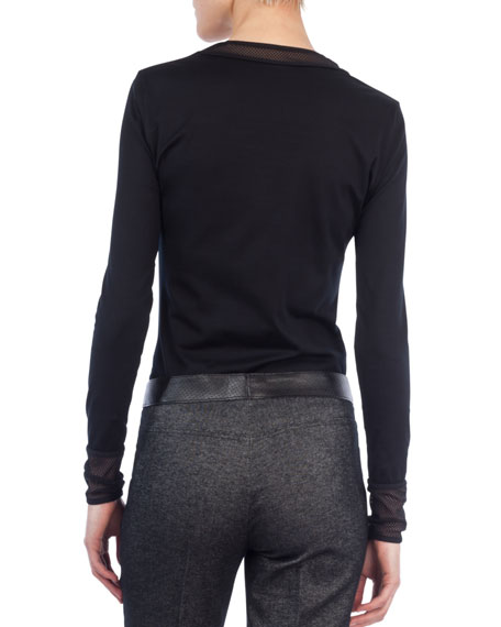 Crewneck Long-Sleeve Mesh-Detail Jersey Top