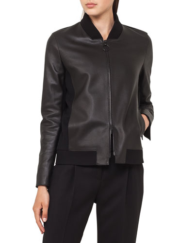 Leather Bomber Jacket with Detachable Hem