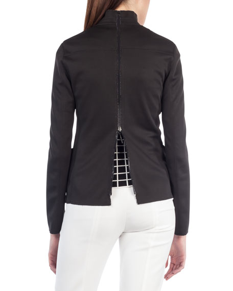 Dot-Press Stand-Collar Reversible Grid Pattern Blazer