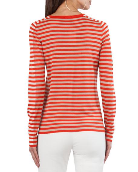 Mixed-Striped Crewneck Top