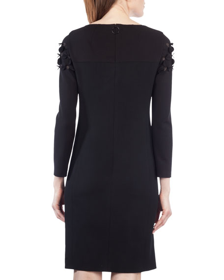 Flocked Long-Sleeve Combo Dress