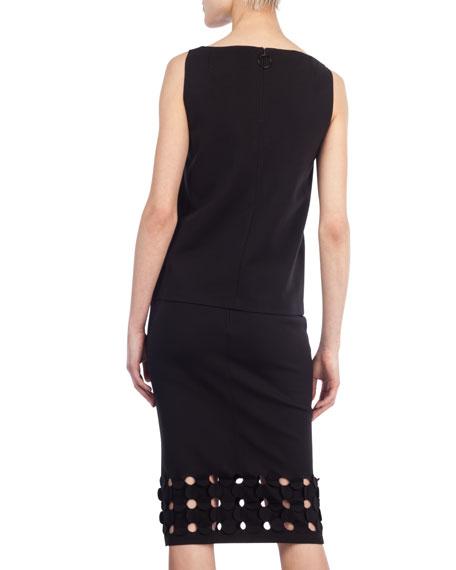 Cutout Punto Dot Pencil Skirt