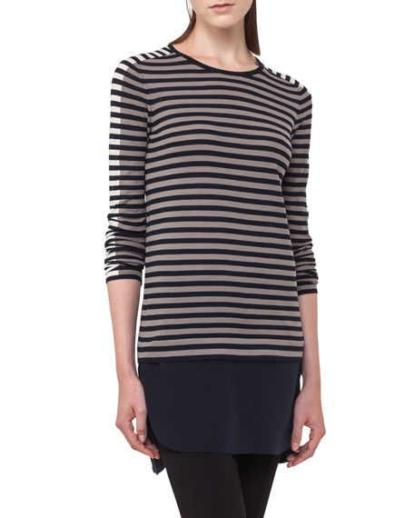 Striped Knit Pullover Top w/Shirttail Underlay