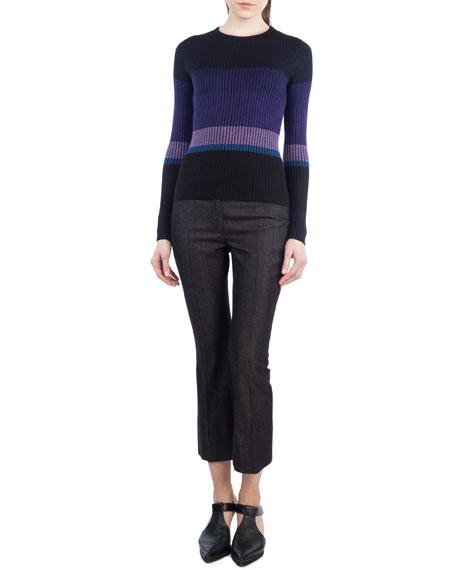 Colorblock Knit Crewneck Sweater