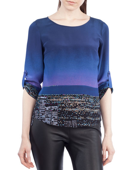 Twilight City Tab-Sleeve Top