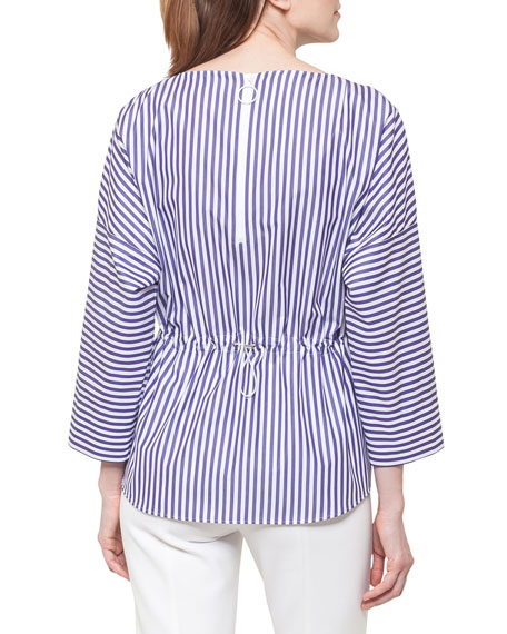 Striped Cotton Drawstring Blouse