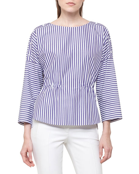 Striped Cotton Drawstring Blouse