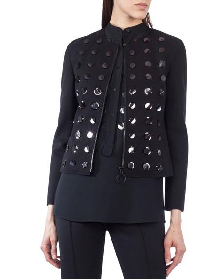 Paillette-Embellished Zip-Front Jacket
