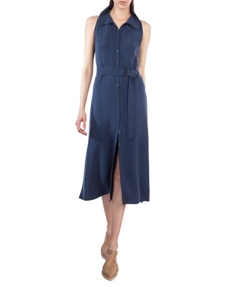 Sleeveless Belted Shirtdress