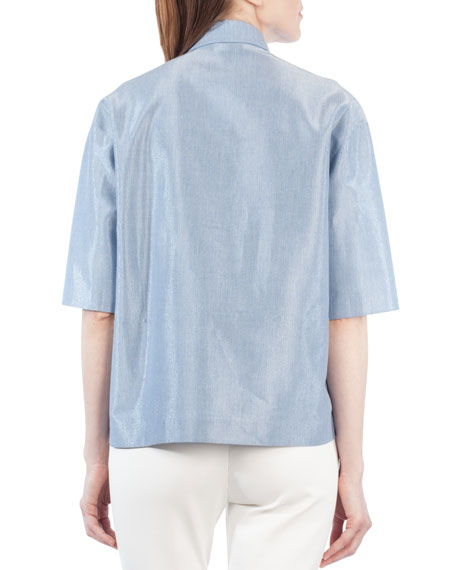 Half-Sleeve Stand-Collar Blouse