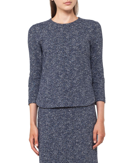 Stretch-Jacquard 3/4-Sleeve Top