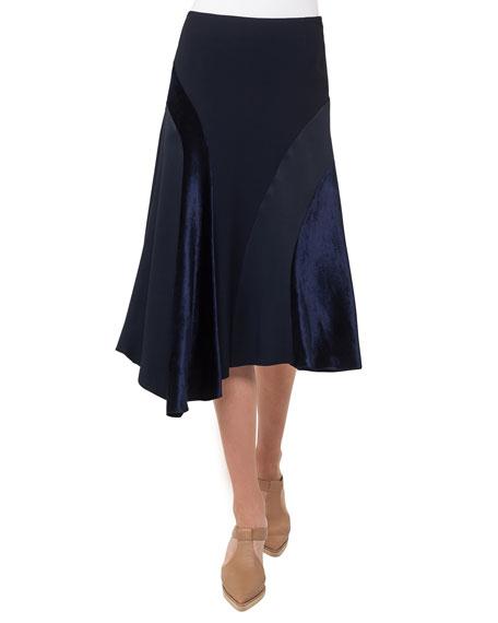 Asymmetric Velvet Midi Skirt