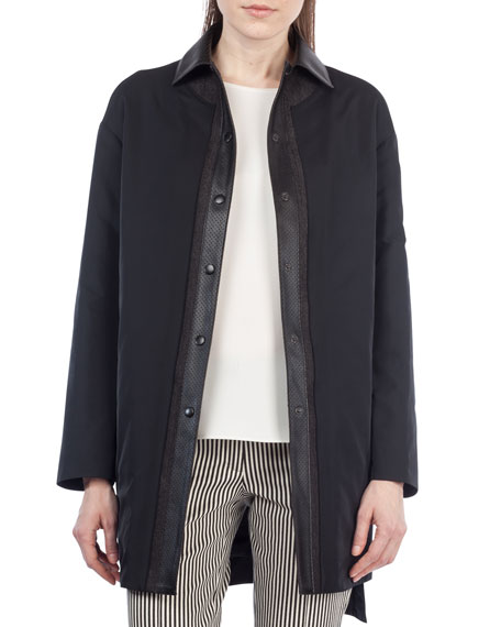 Reversible Leather-Trim Coat