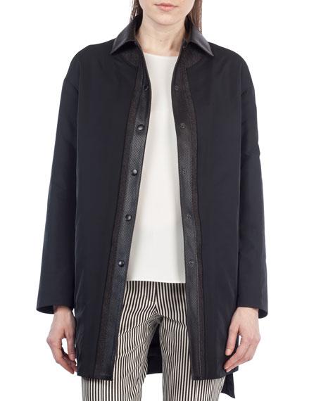 Reversible Leather-Trim Coat
