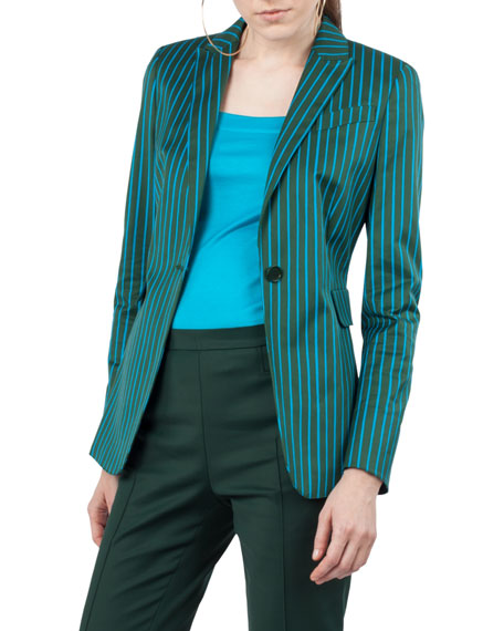 Striped One-Button Cotton-Stretch Blazer
