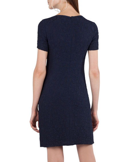 Short-Sleeve Cloque Shift Dress