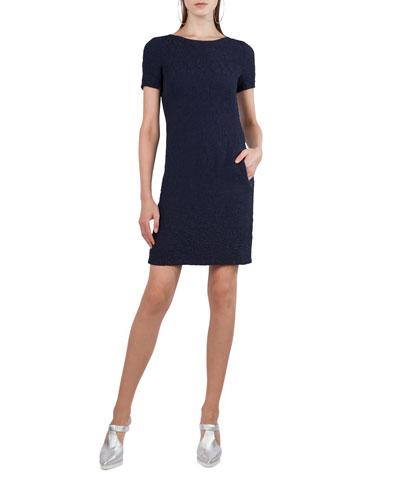 Short-Sleeve Cloque Shift Dress