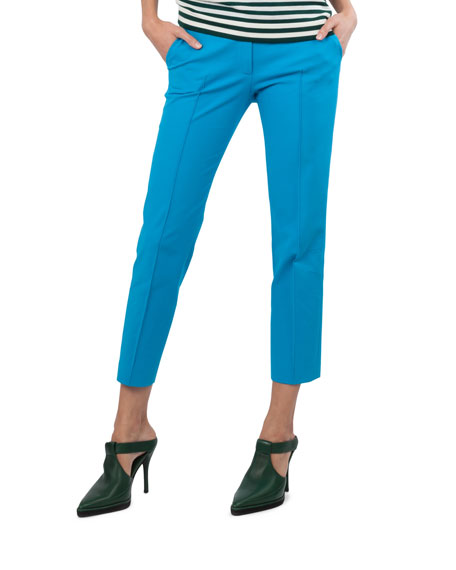 Frankie Stretch-Cotton Pants, Turquoise
