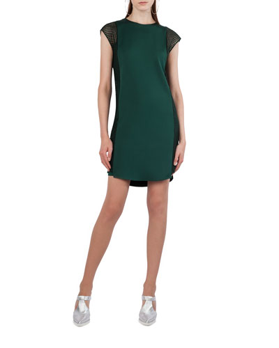 Dot Tulle Cap-Sleeve Shift Dress