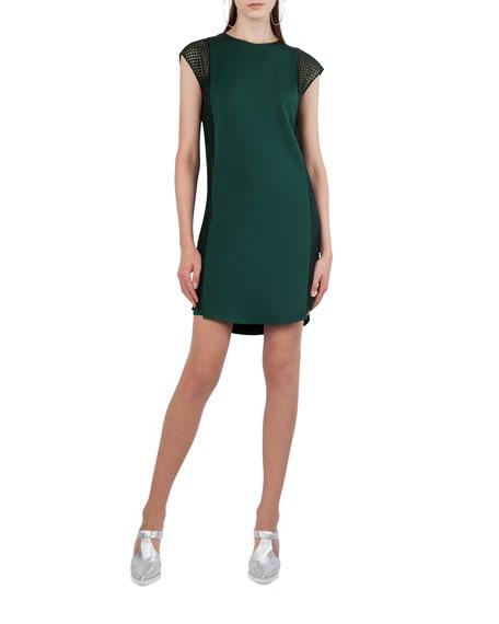 Dot Tulle Cap-Sleeve Shift Dress