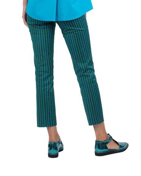 Franca Striped Stretch-Cotton Pants