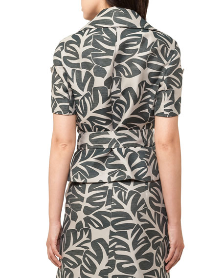 Tropical-Print Safari Jacket