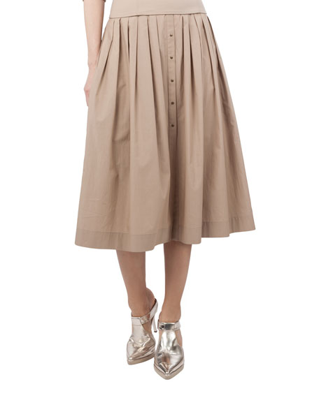 Pleated Cotton Bell Skirt