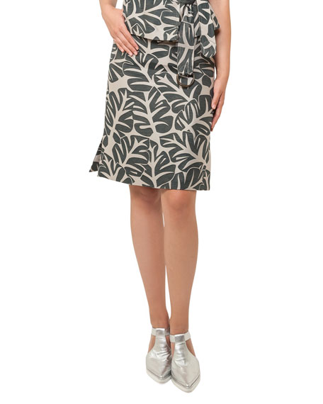 Tropical Leaf-Print Skirt