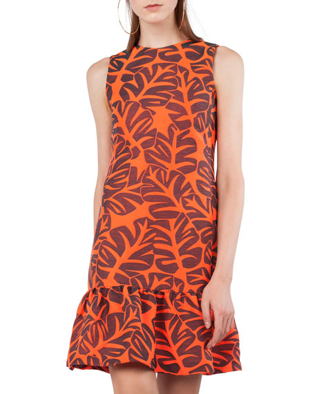 Sleeveless Tropical Leaf Jacquard Dress