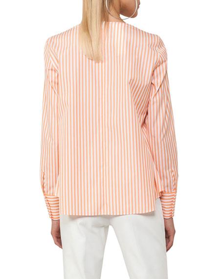 Striped V-Neck Cotton Top