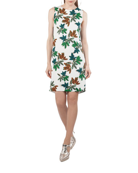 Sleeveless Tropical Leaf Shift Dress