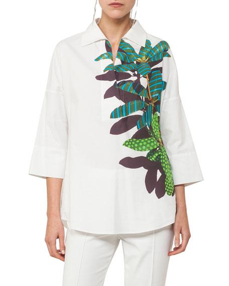 Tropical Leaf-Print Kimono Blouse