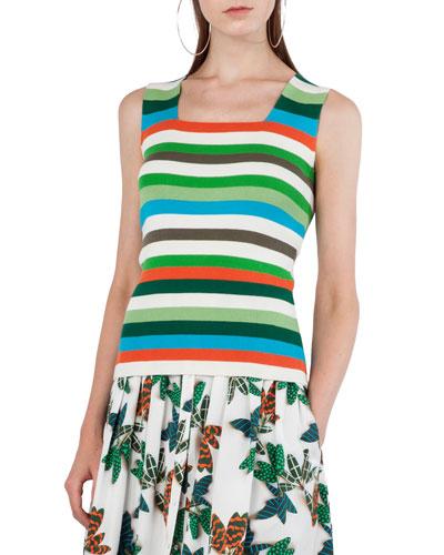 Striped Sleeveless Knit Top