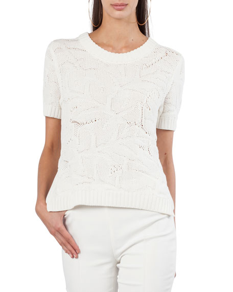 Short-Sleeve Chunky Tropical Leaf Jacquard Sweater