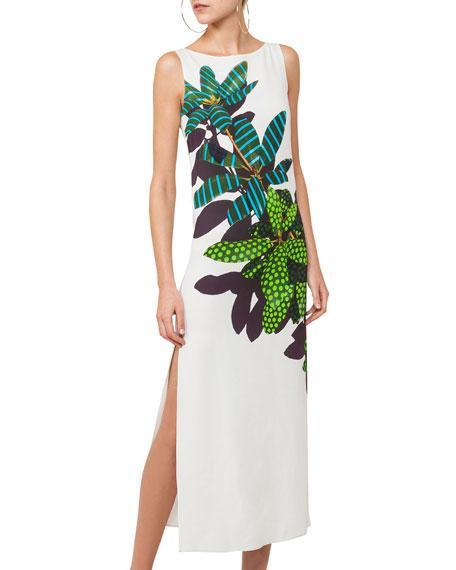 Tropical Leaf-Print Maxi Dress