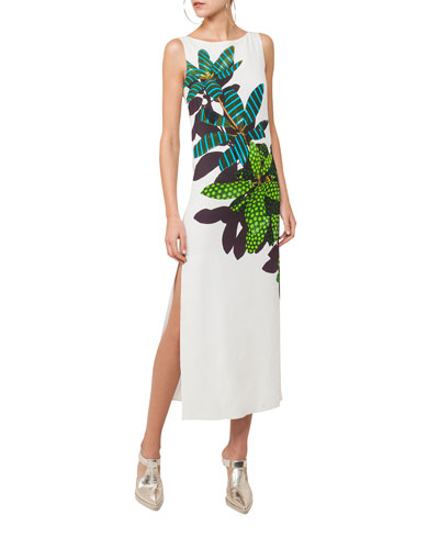 Tropical Leaf-Print Maxi Dress