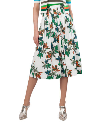 Tropical-Leaves Pleated Printed Midi Skirt
