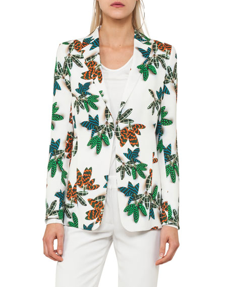 Tropical Leaf-Print Jacket