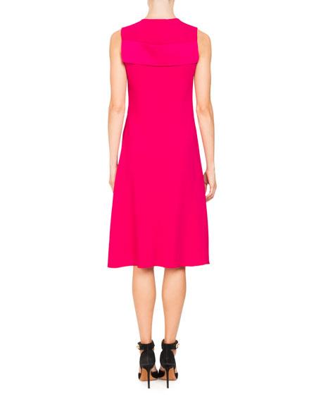 V-Neck Sleeveless Stretch-Cady Cocktail Dress with Lace
