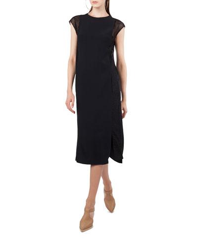 Cap-Sleeve Dot Tulle Midi Dress
