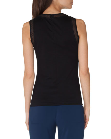 Crewneck Sleeveless Jersey Top with Mesh Detail
