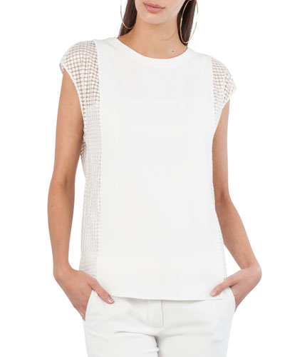 Dot Tulle Cap-Sleeve Top