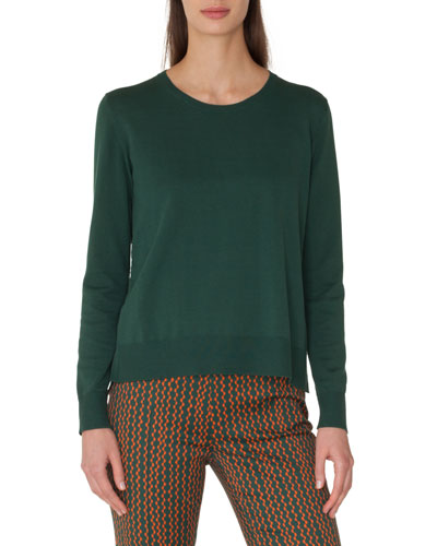Round-Neck Cotton Sweater with Back Pleat