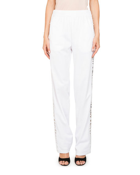Logo Straight-Leg Neoprene Jersey Track Pants in White from Marissa Collections